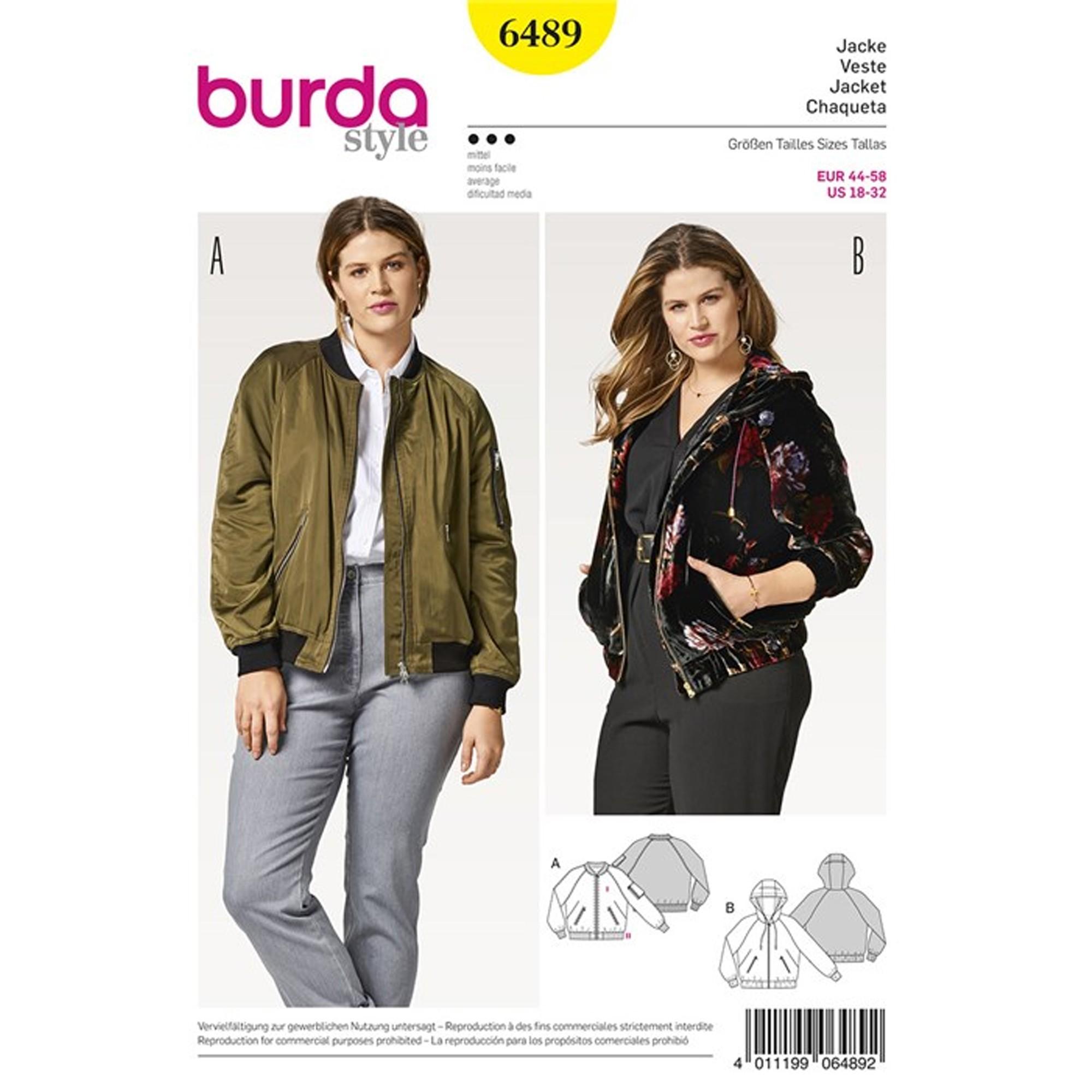 b68c68ebff18 Patron Femme Veste – blouson – capuche – finitions en bord-côte Burda N°6489