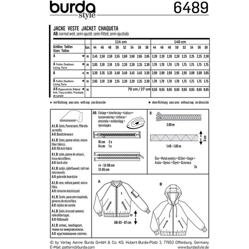 Jacket – Blouson – Hood – Rib Band Burda Sewing Pattern N°6489