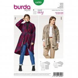 Patron Femme Veste – cardigan – tombé souple – sans fermeture Burda N°6490