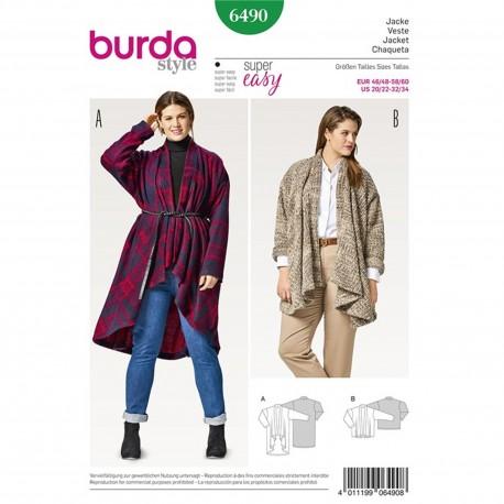 Jacket – Cardigan – Soft Drape – Without Fastening Burda Sewing Pattern N°6490