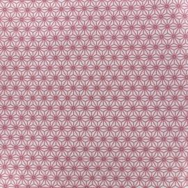 Coated cotton fabric Saki - ivory/pink x 10 cm