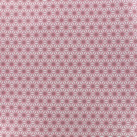 Tissu Oeko-Tex enduit coton Saki - ivoire/rose x 10cm
