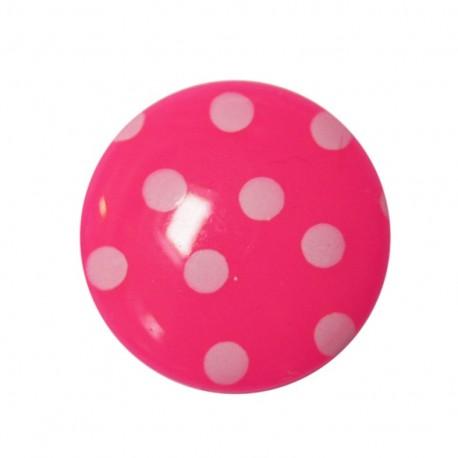 Button with white polka dots - fuchsia