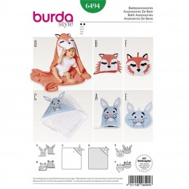 Bath Accessories – Wash Mitt – Hooded Bath Towel – Toiletry Bag Burda Sewing Pattern N°6494