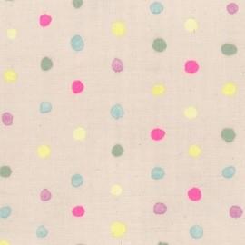 Tissu double gaze de coton Kokka Colorful Pocho - Vieux rose x 10 cm