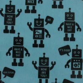 Tissu enduit de coton Kokka Robot - bleu x 16 cm