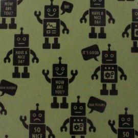 Tissu enduit de coton Kokka Robot - kaki x 16 cm