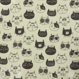 Tissu enduit de coton Kokka Nono Ecole Cat - blanc x 13 cm