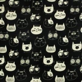 Tissu enduit de coton Kokka Nono Ecole Cat - noir x 13 cm