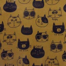Tissu enduit de coton Kokka Nono Ecole Cat - camel x 13 cm