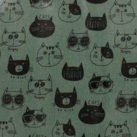 Tissu enduit de coton Kokka Nono Ecole Cat - vert x 13 cm