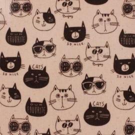 Kokka Coated Cotton Fabric Nono Ecole Cat - pink x 13 cm