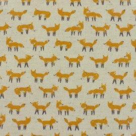 Kokka Coated Cotton Fabric Anika World Cat - beige x 10 cm
