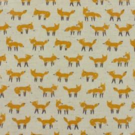 Tissu enduit de coton Kokka  Anika World Cat - beige x 10 cm