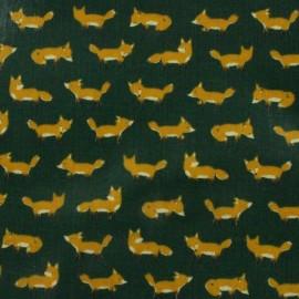 Tissu enduit de coton Kokka  Anika World Cat - vert x 10 cm
