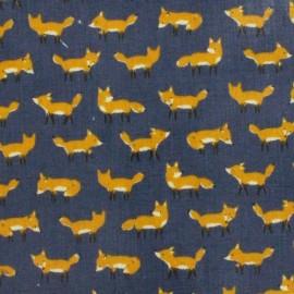 Kokka Coated Cotton Fabric Anika World Cat - blue x 10 cm