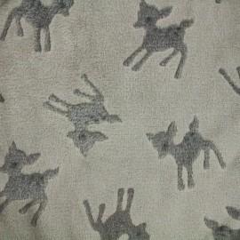 Tissu Doudou Faon - gris x 10cm