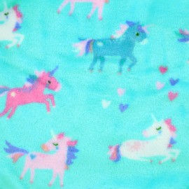 Tissu Doudou Licornes - bleu x 20cm