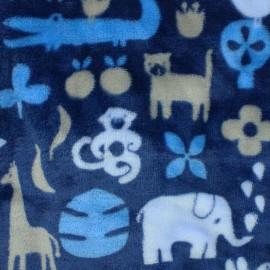Tissu Doudou Jungle time - bleu x 20cm