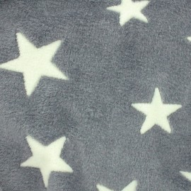 Tissu Doudou A starry night sky - gris  x 10cm