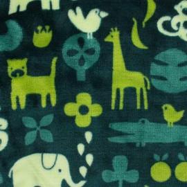 Tissu Doudou Jungle time - vert x 20cm