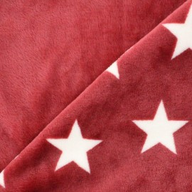 Tissu Doudou double face Stars - rouge x 10cm
