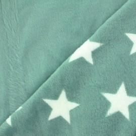 Tissu Doudou double face Stars - vert x 10cm