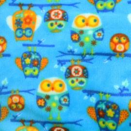 Tissu Doudou Hiboux - bleu foncé x 20cm