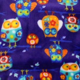Tissu Doudou Hiboux - violet x 20cm