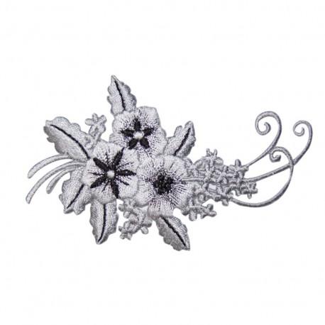 Motif à thermocoller arabesque fleurie gris