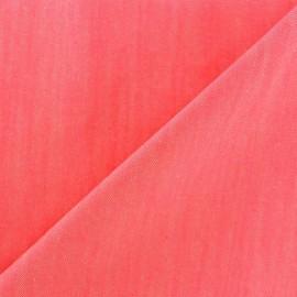 Tissu jeans Color rose fluo x 10cm