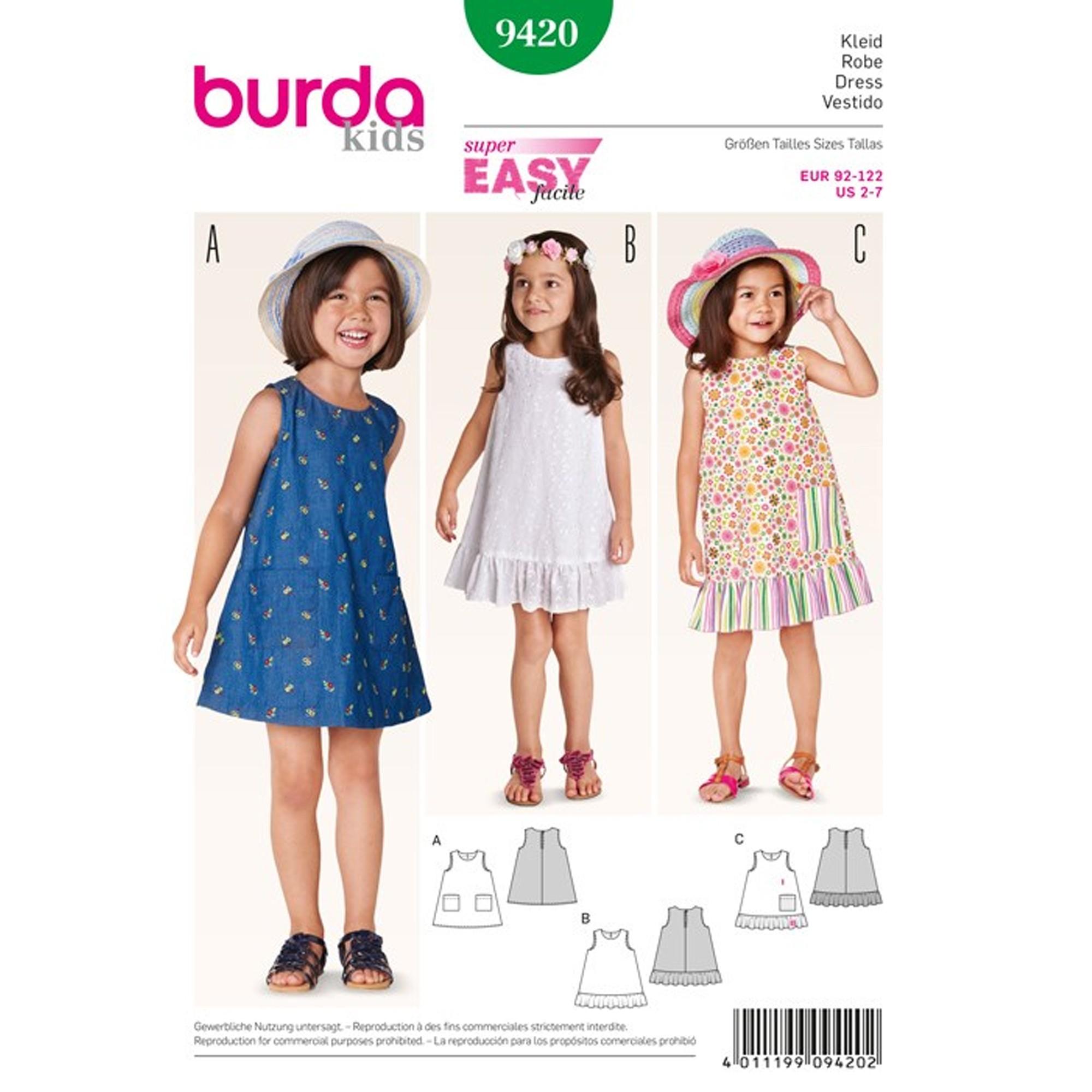 Robe Patron Burda N°9420 Kids Patron PXOkuiZT