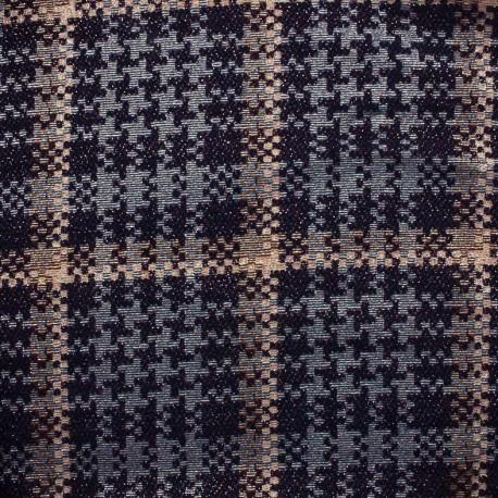 Tissu Tweed lurex Cocktail - rose/gris/noir x 10cm