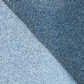 Tissu pailleté Fiesta recto-verso  (47cm) - argenté/bleu x 10cm