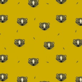 Organic jersey fabric Skunk - yellow x 10cm