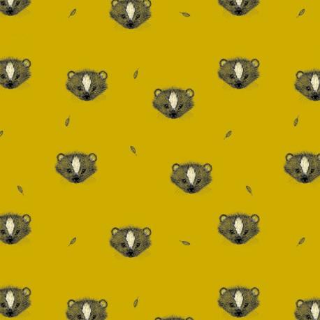 Organic jersey fabric Skunk - yellow x 10cm