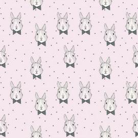 Tissu Bio Jersey Bunny Bow - rose x 10cm
