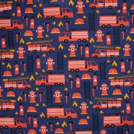 Tissu Oeko-Tex Jersey Camions de pompiers - bleu/rouge x 10cm