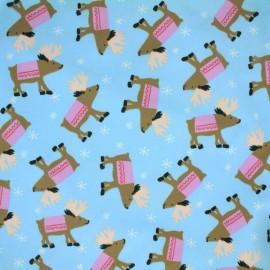 ♥ Coupon 220 cm X 150 cm ♥ Tissu Jersey Promenade du cerf - bleu ciel