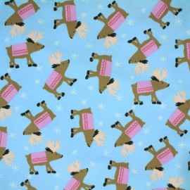 Oeko-Tex jersey fabric The walk of the deer - sky blue x 10cm