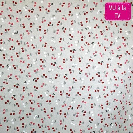 Tissu toile coton Cerisettes bordeaux x 10 cm