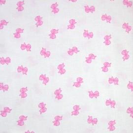 Bow cotton fabric - pink x 10cm