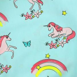 Tissu coton popeline Girly Unicorns - bleu x 31cm