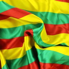 Tissu Crazy stripes - rouge/vert/jaune x 10cm