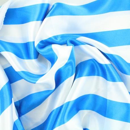 Tissu Crazy stripes - bleu/blanc x 10cm