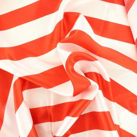 Tissu Crazy stripes - rouge/blanc x 10cm