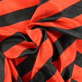 Tissu Crazy stripes - rouge/noir x 10cm