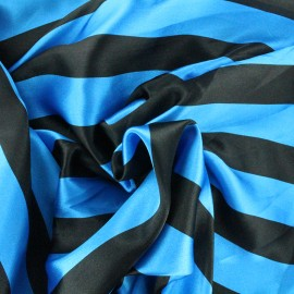 Tissu Crazy stripes - bleu/noir x 10cm