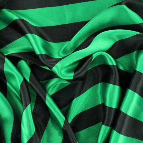Tissu Crazy stripes - vert/noir x 10cm