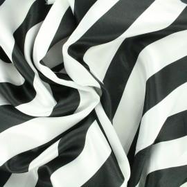 Tissu Crazy stripes - blanc/noir x 10cm